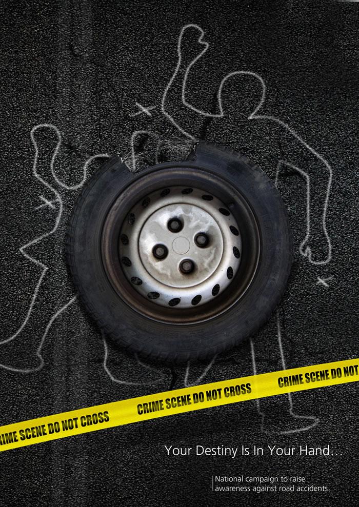 全国运动以提高对道路交通事故的认识平面广告